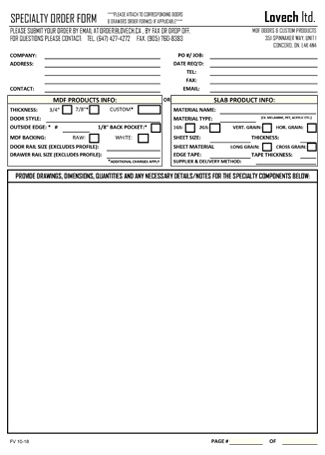 SPECIALTY ORDER FORM